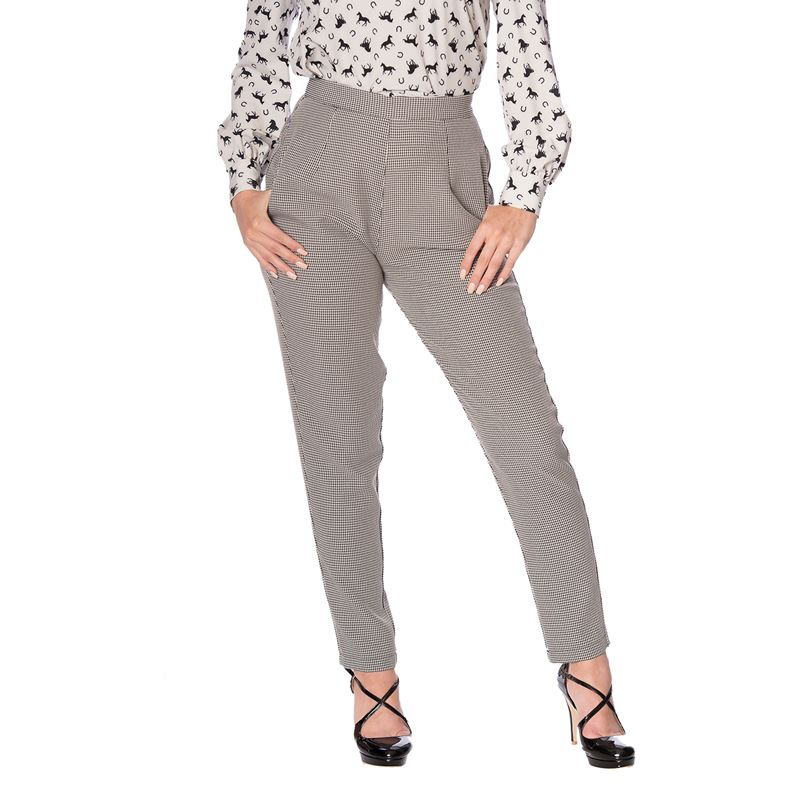 Banned Retro Betty Houndstooth High Waisted Trousers