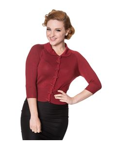 Banned 40s 50s April Burgundy Red Cardigan