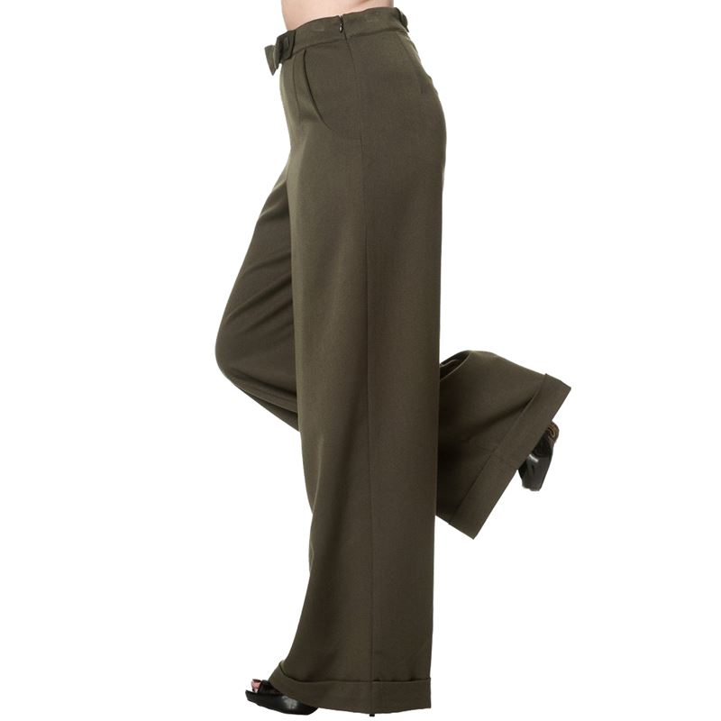 Banned 40s WW11 Style Hidden Away Olive Green Trousers
