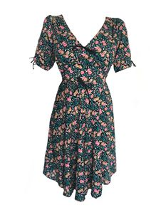Trollied Dolly Bows For Tea Dress - Black Folky People