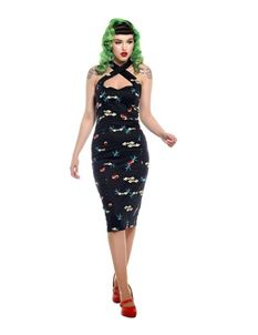 Collectif Penny True Love 50s Black Pencil Dress
