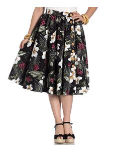 Hell Bunny Tahiti Floral Tropical 50s Style Black Skirt