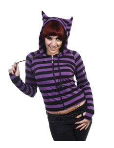 Banned Cat Ears Striped Alternative Lightweight Hoodie