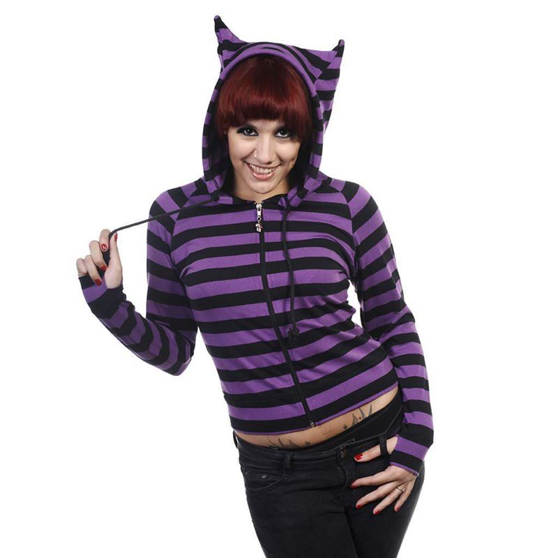 Banned Cat Ears Striped Hoodie