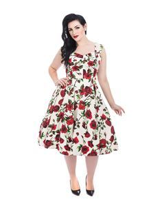 Hearts & Roses Red Rose Rockabilly Swing Dress