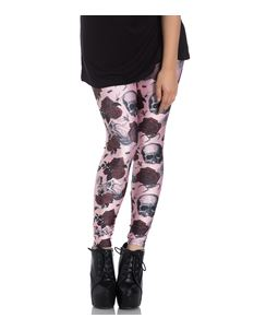 Hell Bunny Sullen Rose Skull Alternative Pink Leggings