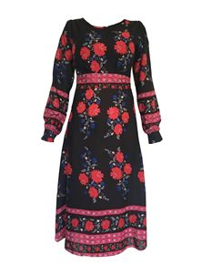 Trollied Dolly Long Sleeved Retro Dress - Bordered Rose