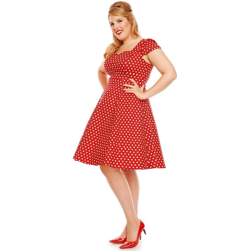 Claudia Flirty Fifties Polka Dot Dress in Red