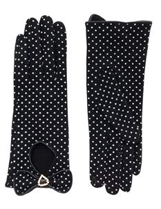 Pia Rossini Bille 50s Black And White Polka Dot Gloves
