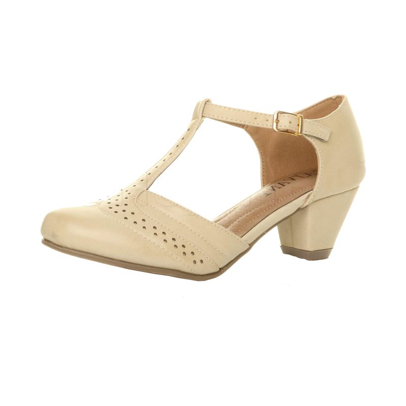 Cream Ivory 1940s Mid Heel T Bar Brogue Court Shoes