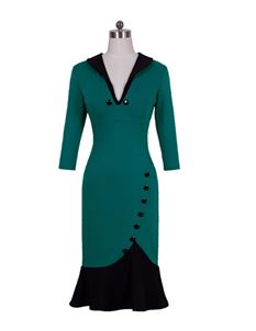 Stylish Turn-Down Collar Vintage Inspired Wiggle Dress
