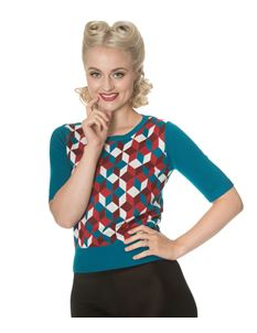 Banned Retro Cube 50s Vintage Style Short Sleeve Jumper