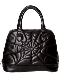 Banned Alternative Malice Spider Web Embossed Black Bag