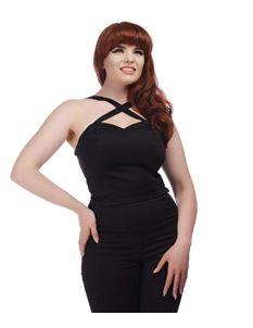 Collectif Mahina 50s Style Black Halterneck Top