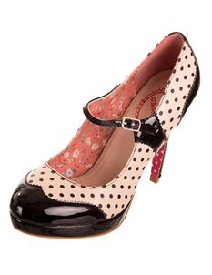 Dancing Days Mary Jane Patent Polka 50s Platform Shoes Black & Nude