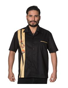 Banned Mens Much Ado Black Shirt With One Panel