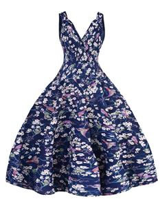 Clarence and Alabama Bird & Blossom Swing Dress