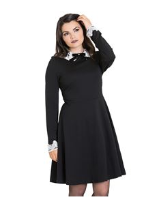 Hell Bunny Ricci Lace Collar Alternative Black Dress