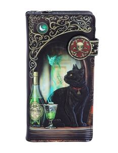 Lisa Parker Absinthe Black Cat Embossed Purse 18.5cm