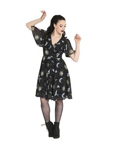Hell Bunny Solaris Sun Moon Stars Chiffon Dress