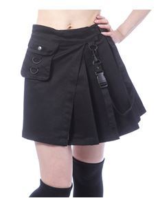 Chemical Black Infinity Black Kilt Style Mini Skirt