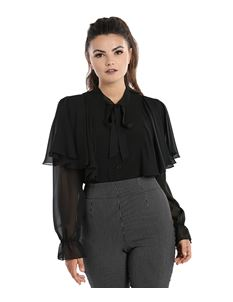 Hell Bunny Isabelle Blouse Alternative Black Shirt Top