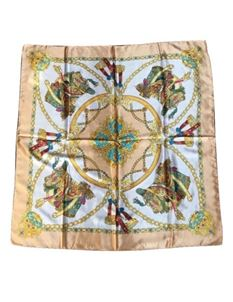 Large Faux Silk Scarf Peach With Ornate Pattern