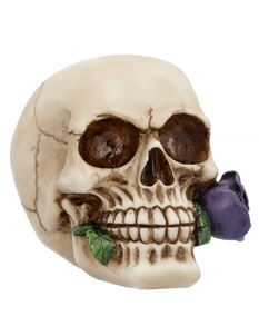 Nemesis Now Purple Rose From The Dead Skull Ornament