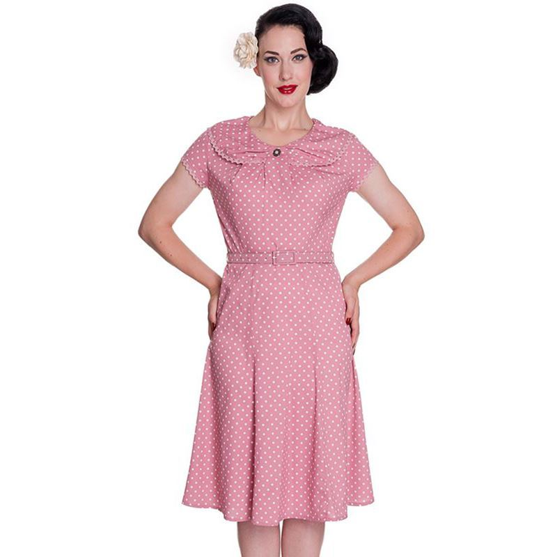 Hell Bunny 40s Vintage Style Dusky Pink and White Polka Dot Print