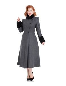 Voodoo Vixen Grey Violet Faux Fur Trim 40s Dress Coat