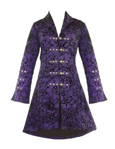 H&R London Womens Long Tattoo Flock Gothic Coat Purple