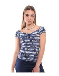 Collectif Dolores 50s Style Gypsy Blue Tiki Mahiki Top