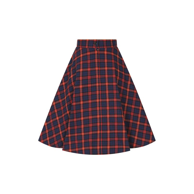Banned Retro Mrs Clause Check Tartan Navy 50s Skirt