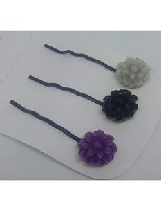 Said Lucy Flower bobby Pins In Grey, Purple And Black