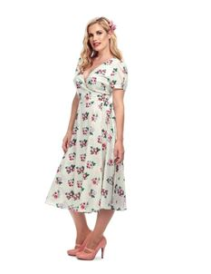 Collectif 40s WW11 Wilhelmina Ivory Floral Wrap Dress