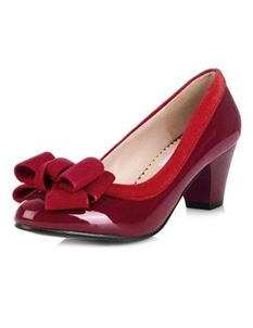 Lulu Hun Mara Patent Burgundy Block Heel Shoes