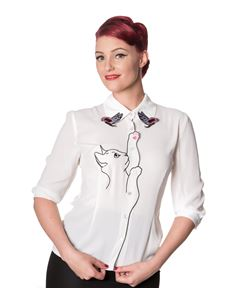 Dancing Days By Banned Kitty Cat White Crepe Blouse