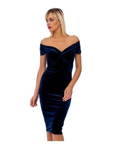 Navy Blue Velvet Crossover Pencil Dress