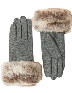 Pia Rossini Vintage Style Fur Trim Grey Wool Gloves