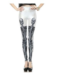 Poisoned Skeleton Print Leggings White