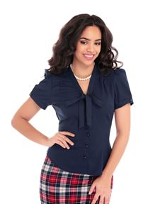 Collectif 40s Style Tura Navy Blue Crepe Blouse