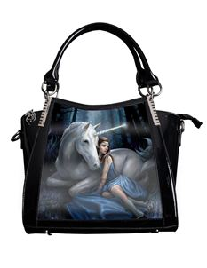 Anne Stokes 3D Blue Moon Unicorn PVC Black Handbag