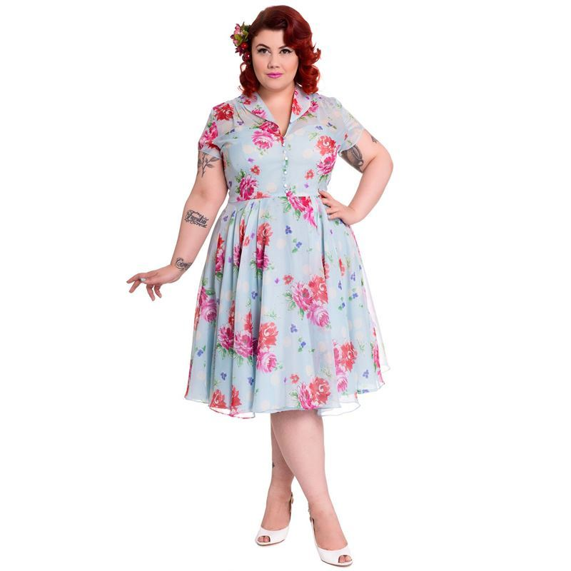 Hell Bunny 50s Bloomsbury Chiffon Floral Dress