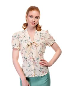 Collectif 40s Style Tura Cream Swallow Crepe Blouse