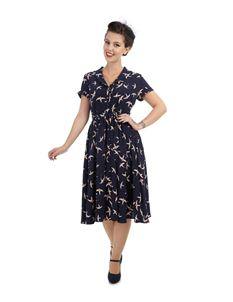Collectif 40s WWII Navy Anne Swallow Print Shirt Dress