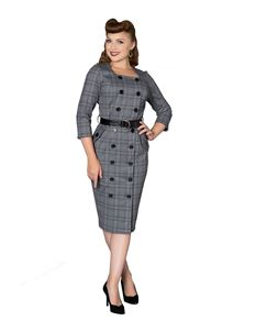 Sheen Jasmine Grey Check Wiggle Dress With Sleeves