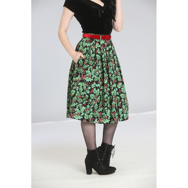 Hell Bunny Holly Berry 50s Christmas Xmas Black Skirt