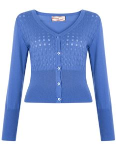 Friday On My Mind V-Neck Knitted Crop Cardigan Blue