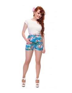 Collectif Ayana Flamingo Island Blue Shorts Size 22