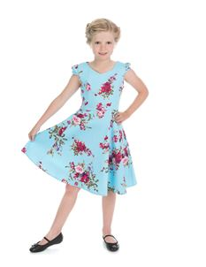 H & R Childrens Sky Blue Floral Blossoms Swing Dress